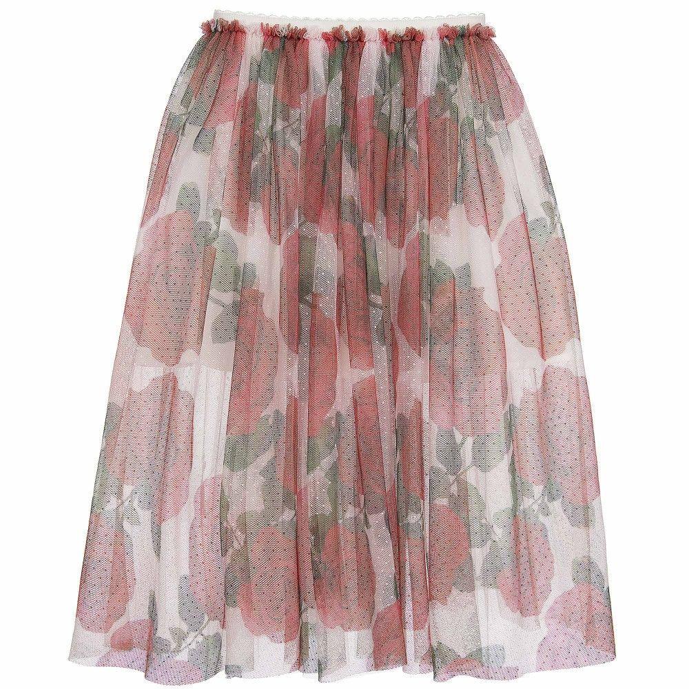 4e68f88dca6e Girls Red Rose Printed Tulle Skirt