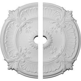 x 18 in x 5//8 in Polyurethane Attica Handcarved White Ceiling Medallion 18 in