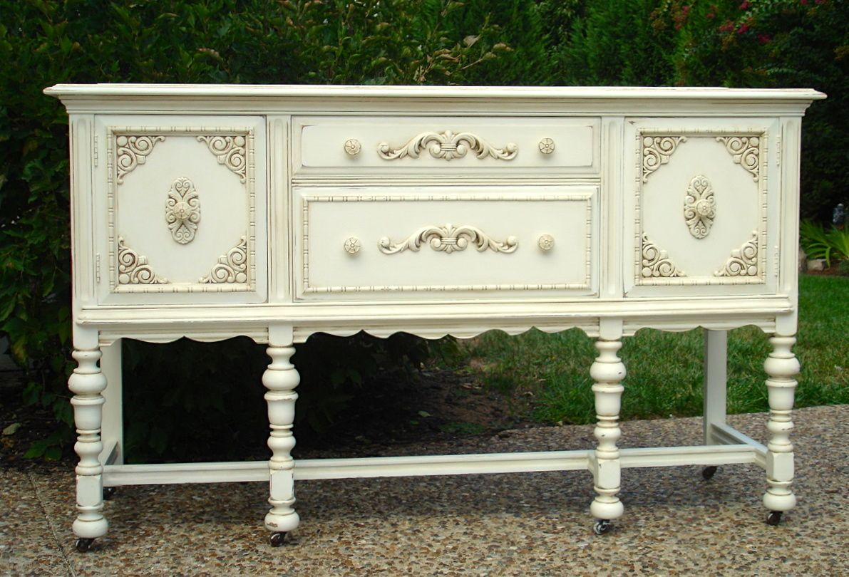 hand painted off white buffet bellablakely uptown vintage furniture