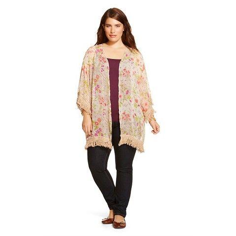 Women's Plus Size Floral Kimono Pale Tan - Black Rainn | Products ...