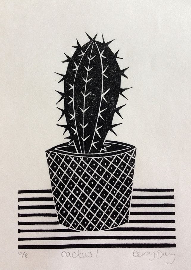 Cactus I - Mini Lino Print - Folksy -  Mini Lino Print by Kerry Day. Open edition, printed onto Japanese Washi paper. #KerryDay #Linocut # - #cactus #Folksy #lino #mini #print #Printmaking #Sculpture #WeddingPhotography