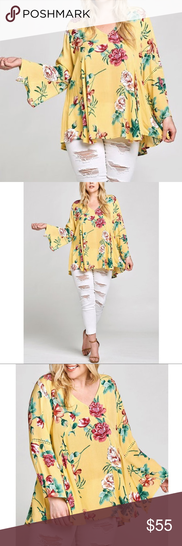 Plus Yellow Floral Bell Sleeve Babydoll Tunic Top