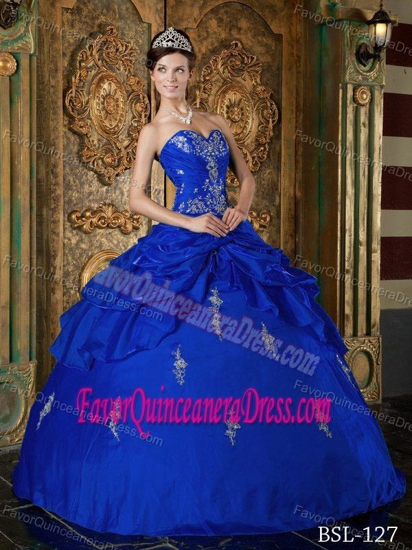 2e9302d83e5 Royal Blue Ball Gown Floor-length Taffeta Appliques Quince Dresses with  Sweetheart