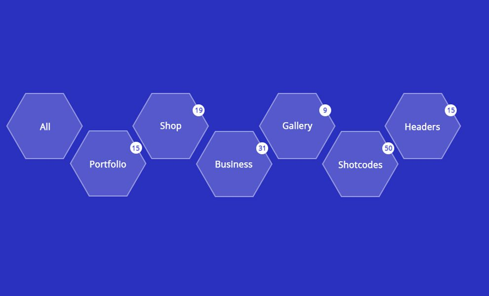 Example of Bootstrap 3, Bootstrap 4 and CSS3 Hexagon