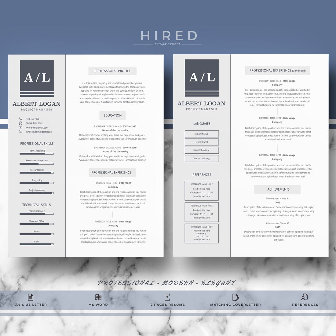 Pin de Hired Design Studio en Resume Templates for MS Word   Pinterest