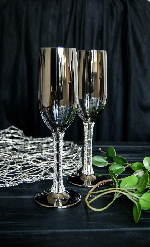 Mr Groom Wedding Gold Tone 9 inch Glass Rhinestone Iron Metal Wine Glass