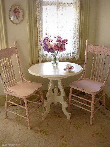 Shabby Chic Dining Area girly cute pink home pretty rustic decorate