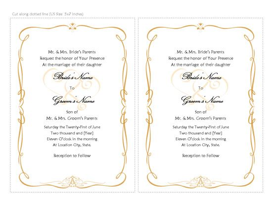 Wedding Invitations Templates, Word Templates, Free Office Templates - microsoft word wedding invitation templates free