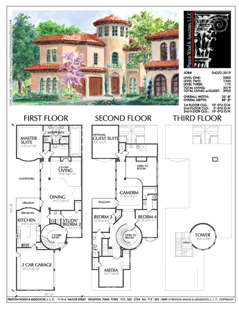 2 1/2 Story Urban Home Plan D4222 Mediterranean house