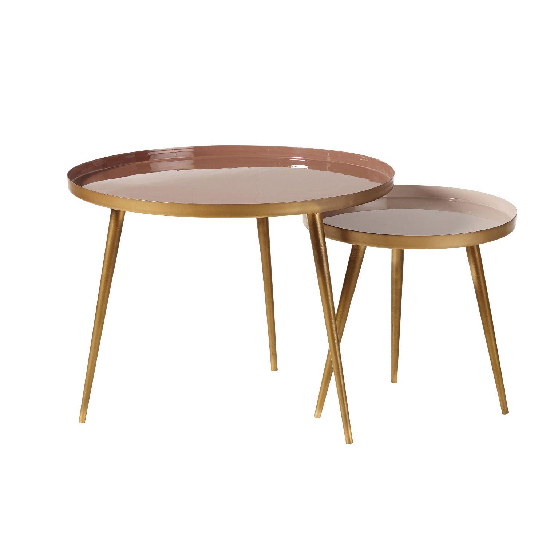 Tables Gigognes En Metal Beige Rose Et Dore Maisons Du Monde Tables Gigognes Table Basse Gigogne Maison Du Monde Table Basse
