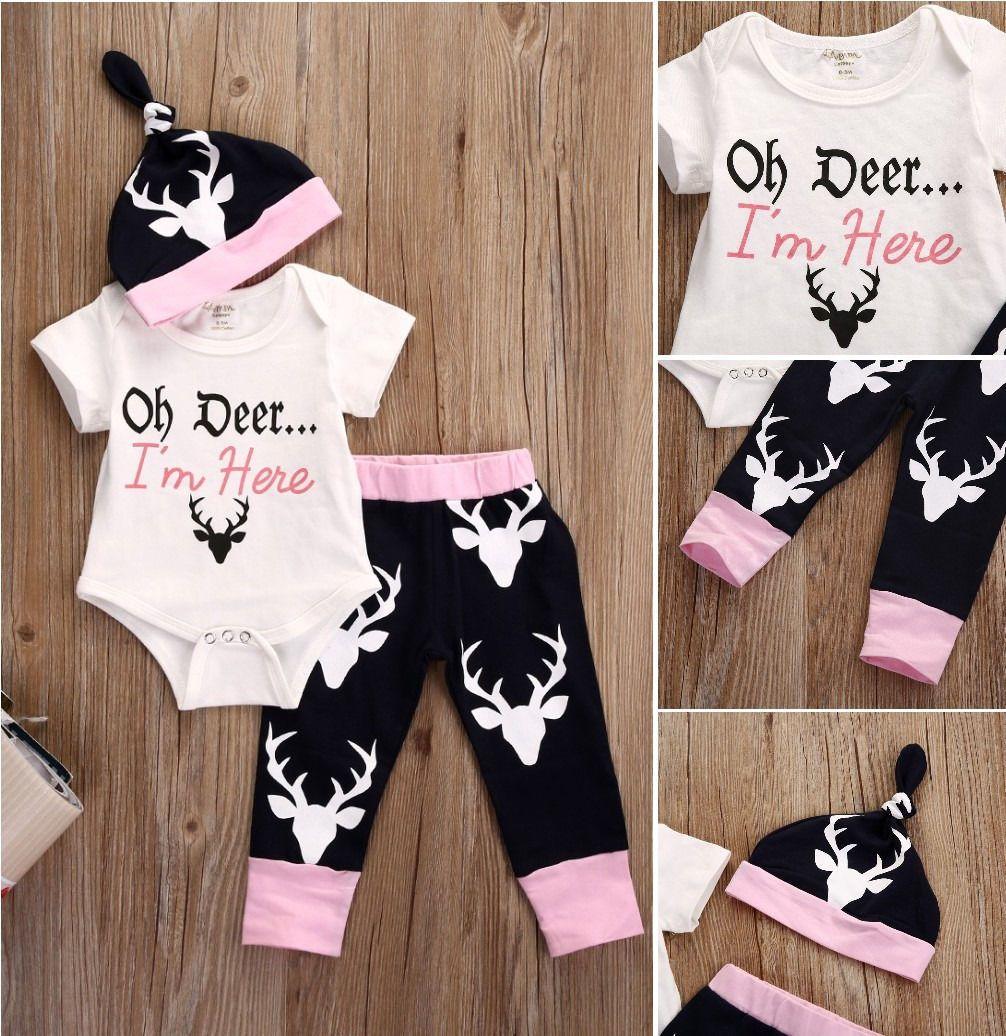 Baru Lahir Bayi Perempuan Pakaian Tops Bodysuits Topi Rusa Celana Legging Katun Busana Bayi Perempuan Pakaian Pakaian Set Paka Baby Girl Pants Toddler Fashion Baby Girl Tops