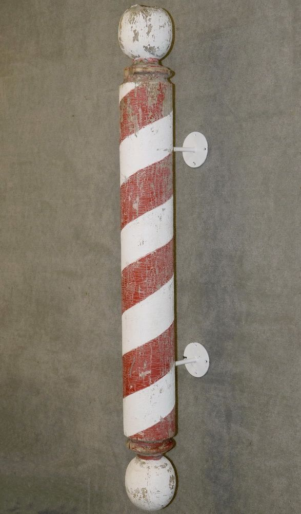 VINTAGE WALL MOUNT EXTERIOR BARBER POLE Wooden Trade Sign In Typical Form Retaining The Original Red White Candy Stripe Paint Spheres At Top And Bottom