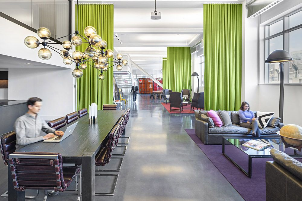 Modern, artistic lobby/lounge in this Boston