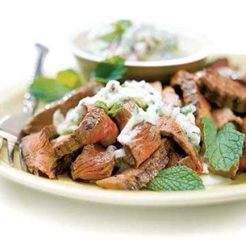 Beef with Cucumber Raita at 176 calories a serving