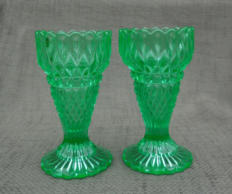 Pair of stunning henry greener victorian uranium pressed glass pair of stunning henry greener victorian uranium pressed glass vasestique green glass reviewsmspy