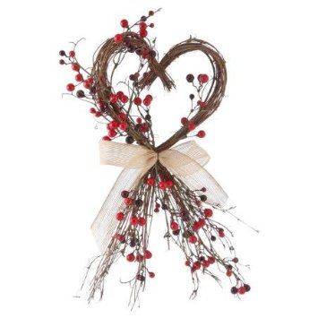 Medium 35cm Rustic Wood Twig Sweet Love Heart with Hessian ...
