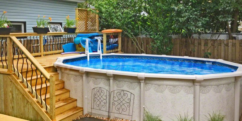 Pool Deck Ideas Partial Deck Backyard Pool Landscaping