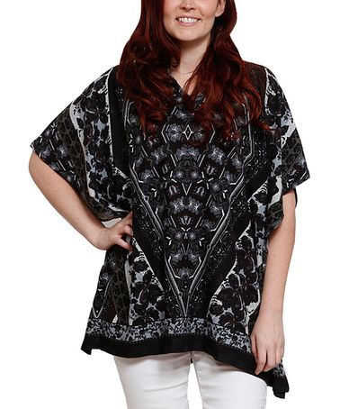 Loving this Gray & Black Cape-Sleeve Top - Plus on #zulily! #zulilyfinds