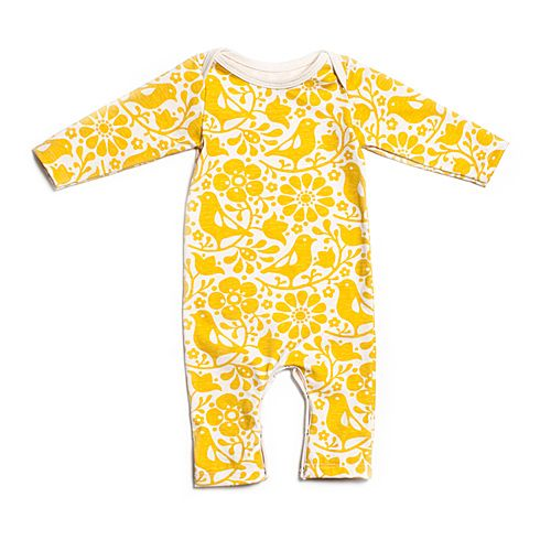 Organic Long Sleeve Romper Birds Flowers Yellow Baby
