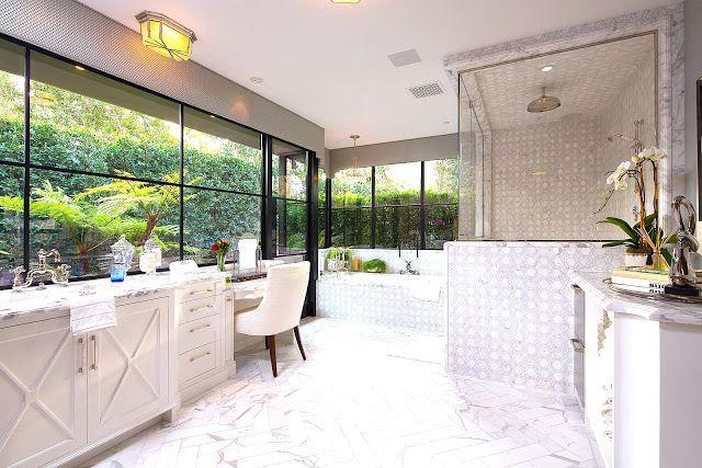 $25 Million Dollar Art Deco Style Estate  See This House  White Unique Million Dollar Bathroom Designs Design Ideas