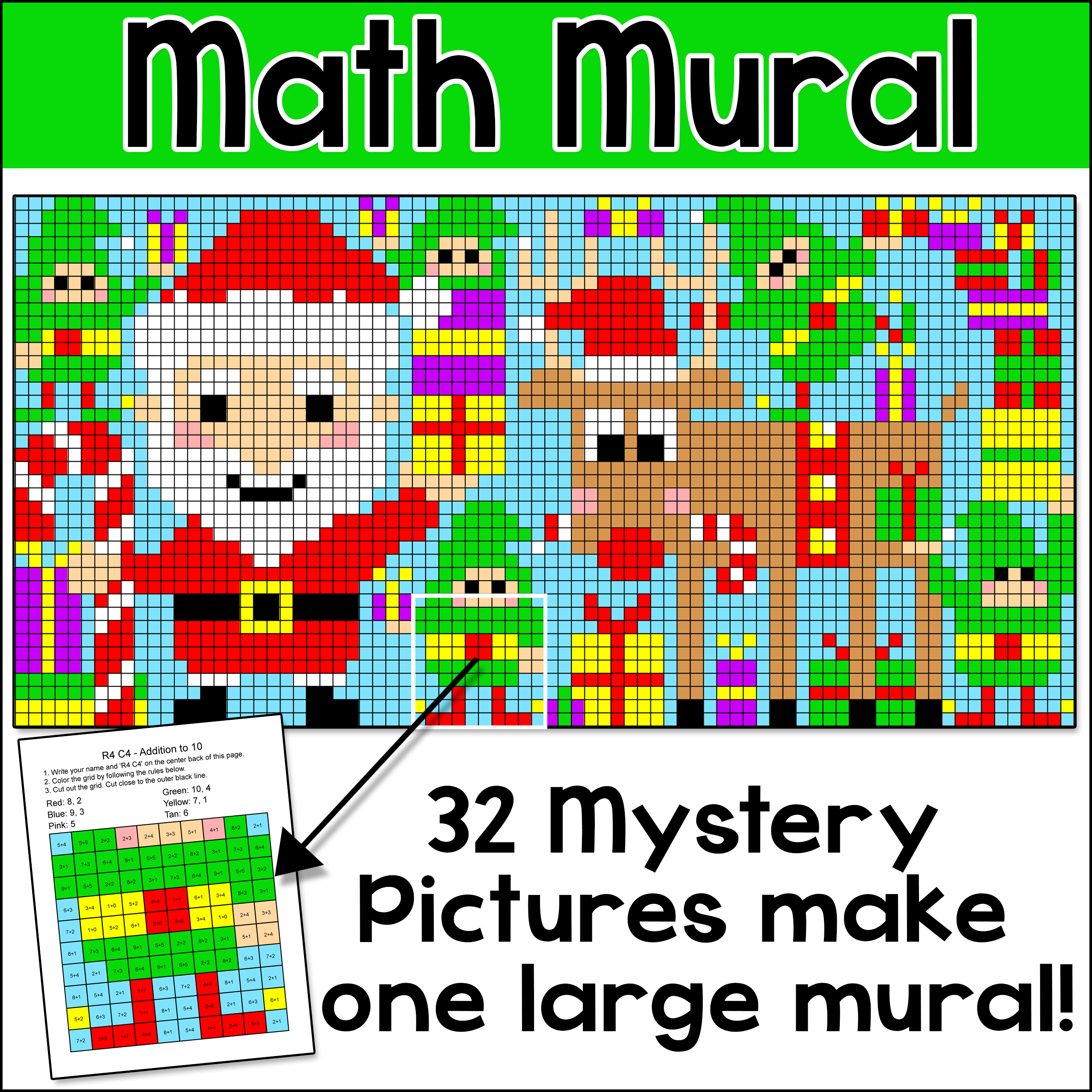 Christmas Math Color By Number Mural