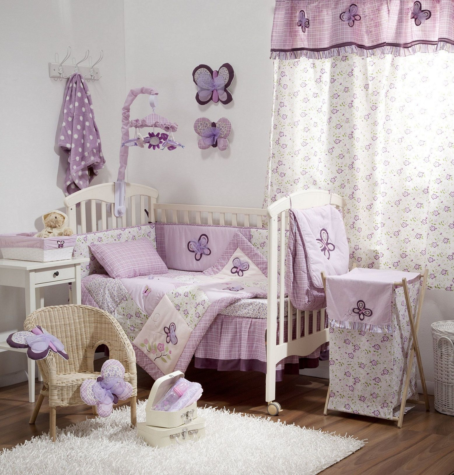 Baby Girl Room Ideas With White Carpet And Purple Curtain