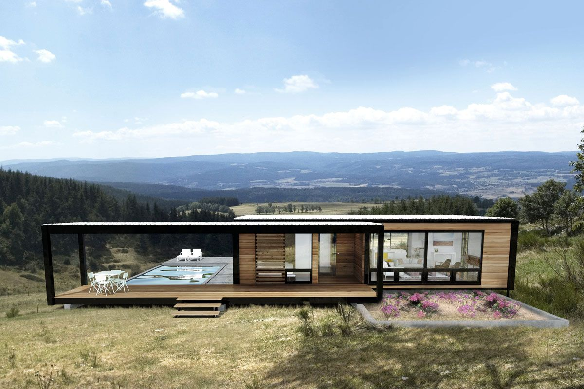 Modern prefab home cabins and lodges pinterest for Fertigteilhaus container
