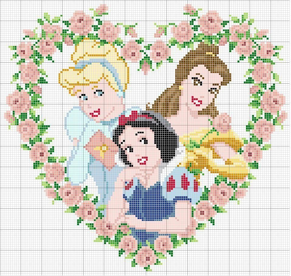 Disney Princess (Cinderella, Belle and Snow White) heart pattern ...
