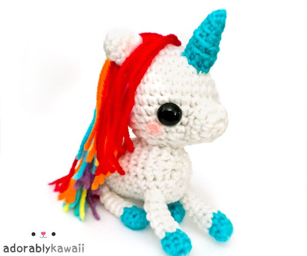adorably kawaii - cute handmade amigurumi plushies and more!: NEW Rainbow Unicorn Plush
