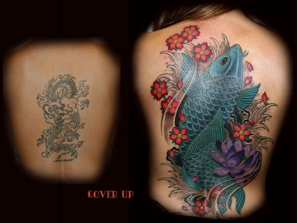 Koi Fish Lotus Flower Awesome Cover Up Cover Up Tattoos Cover Tattoo Up Tattoos