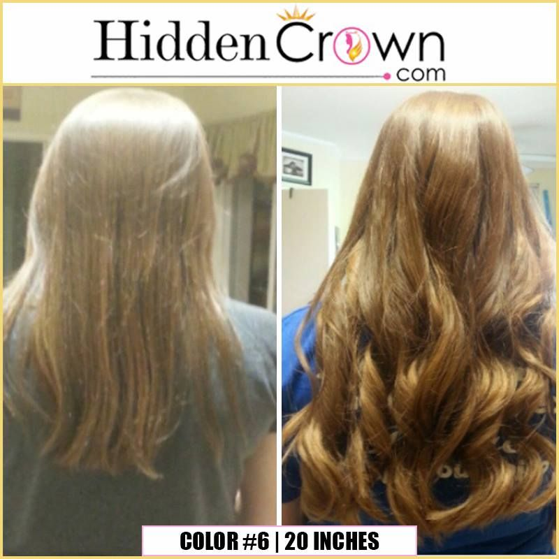 Hidden Crown Hair Extensions Before After Color 6 In 20