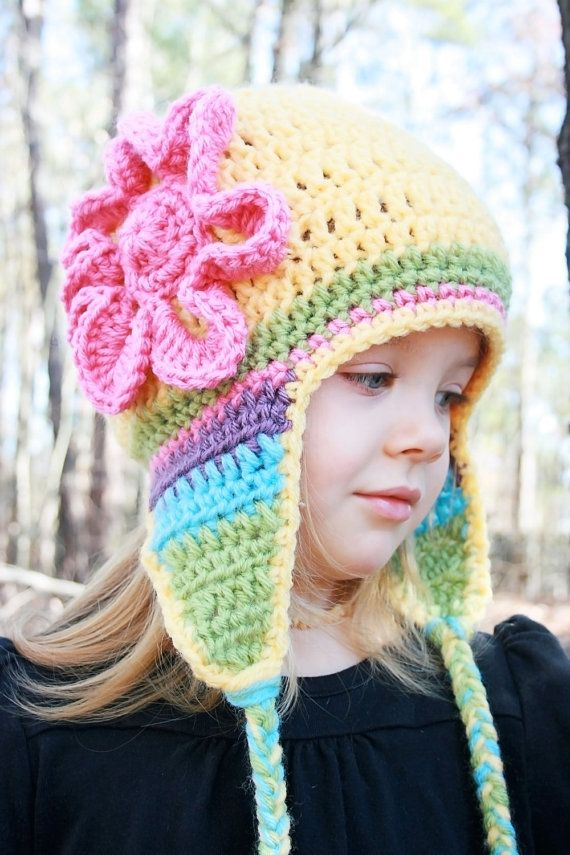 Yellow Crochet Hat with Flower and Earflaps, Crochet Baby Hat, Baby ...