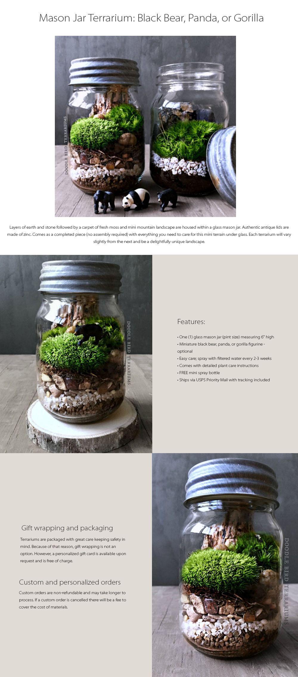 Mason Jar Terrarium Black Bear Panda Or Gorilla Gardeningdiy