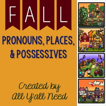 Pronouns, Places, & Possessives is the first of two fall sets for speech and language therapy. The unit includes 5 scenes. Each…
