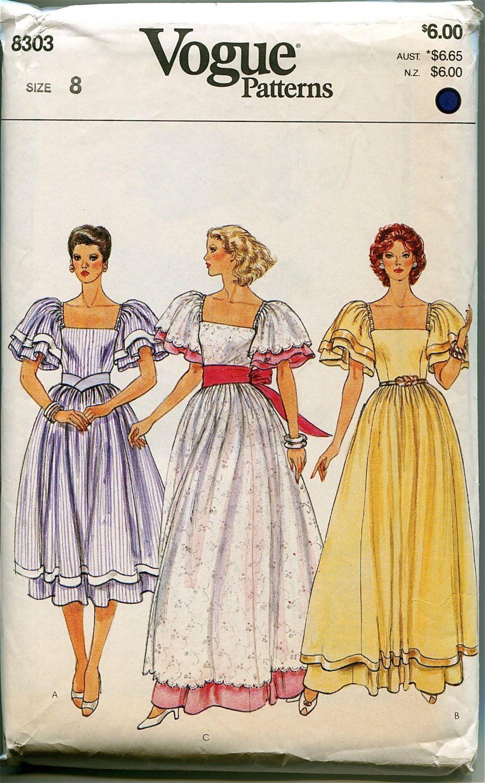 DRESS PATTERNS 80s Evening Gowns Dirndl Boho Wedding Dress