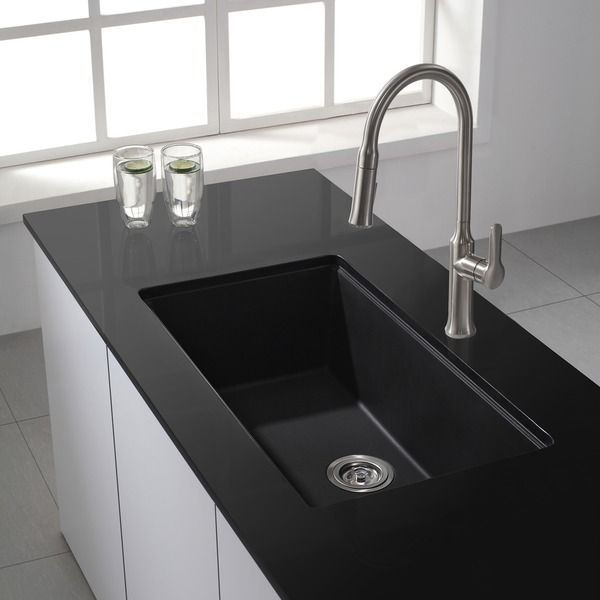 Kraus Kitchen Sinks Mobile Kitchens Sale 31 Inch Undermount Single Bowl Black Onyx Granite Sink Overstock Shopping Great Deals On