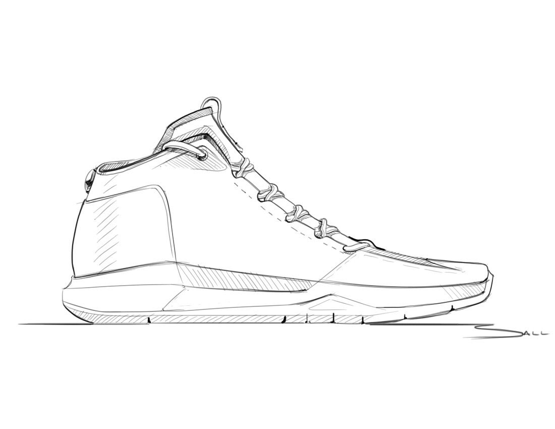 The Minimal Sketching Of This Shoe Highlights Just The