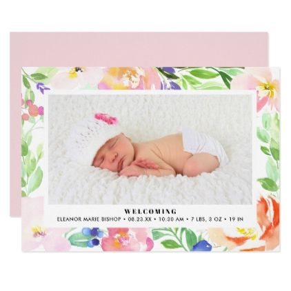 dainty watercolor floral frame birth announcement