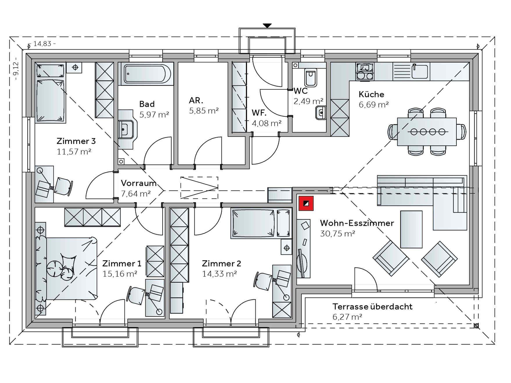 fertighaus bungalow family vii haus pinterest haus bungalow und grundriss bungalow. Black Bedroom Furniture Sets. Home Design Ideas