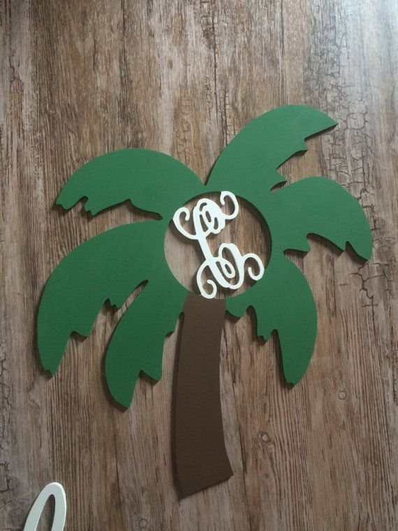 Wooden Palm Tree Florida Painted Wood Initial Wooden Summer Door Monogram Door Wreath Decoration Holiday Decor