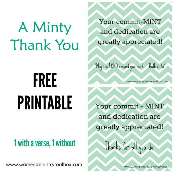 Minty Thank You Free Printable  Free Printable Appreciation And