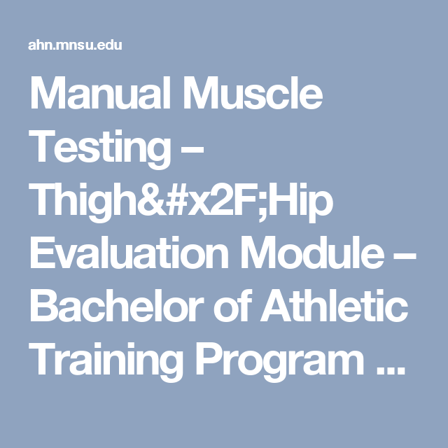 Manual Muscle Testing – Thigh/Hip Evaluation Module – Bachelor of ...