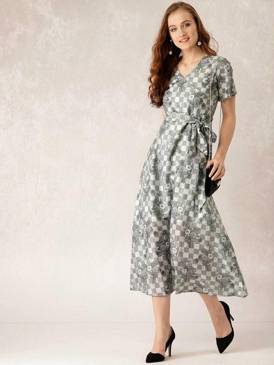 6eb8957d39a Libas Women Grey Checked Wrap Maxi Dress -