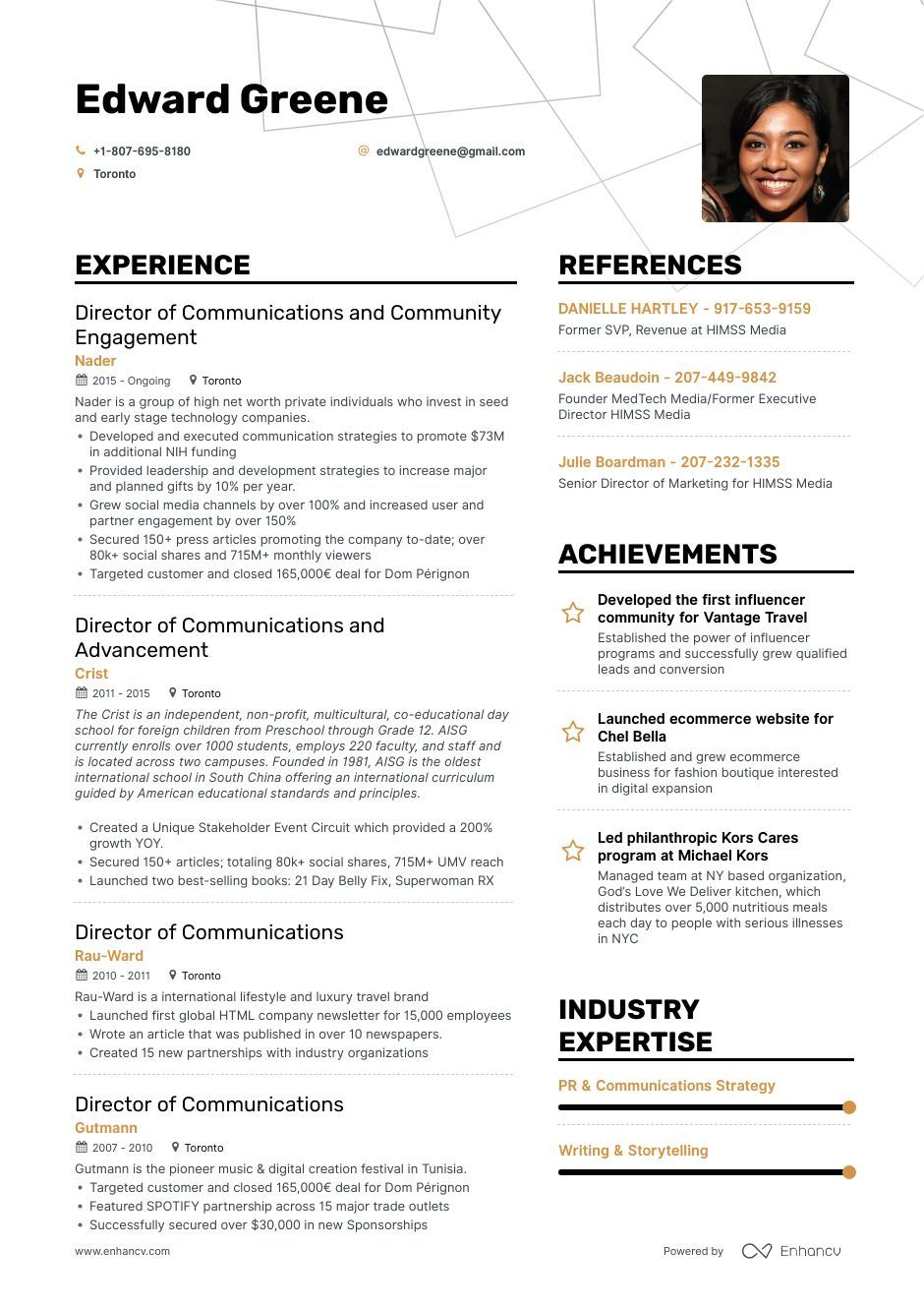 Director Of Communications Resume Example and guide for