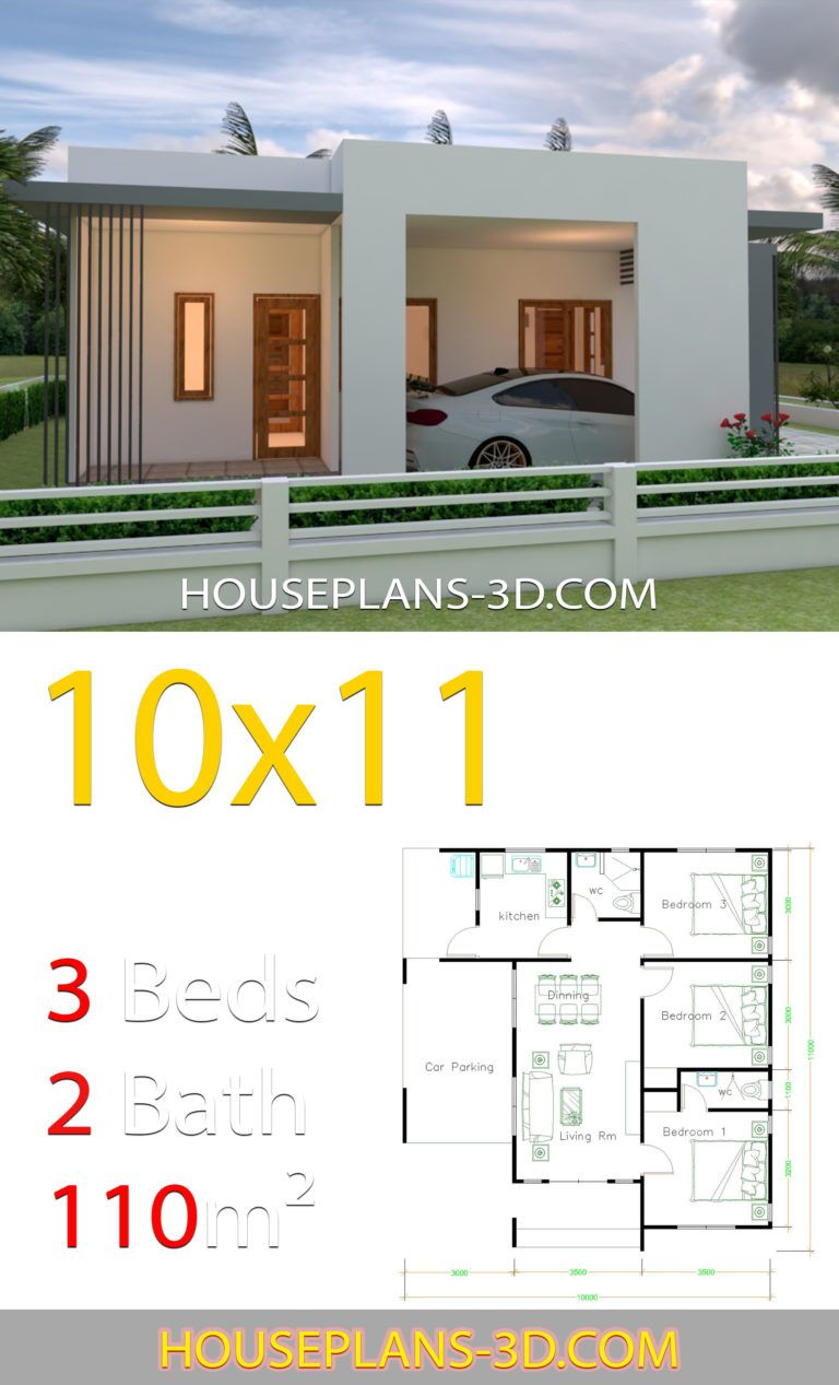 House Design 10x11 With 3 Bedrooms Terrace Roof House Plans 3d In 2020 House Plans House Roof Small House Design Plans