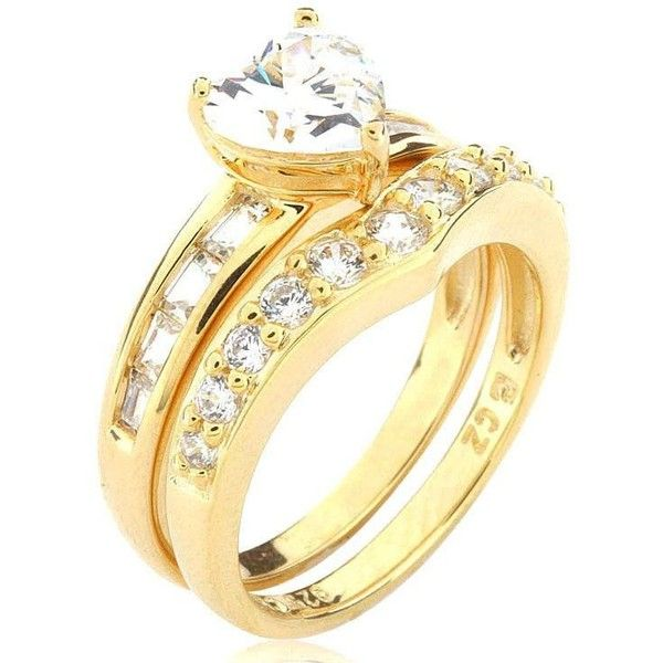 18k Gold Over Sterling Silver and Cubic Zirconia Heart and Soul... ❤ liked on Polyvore featuring jewelry, rings, gold band ring, 18k gold ring, sterling silver cz rings, gold heart ring and cubic zirconia gold rings