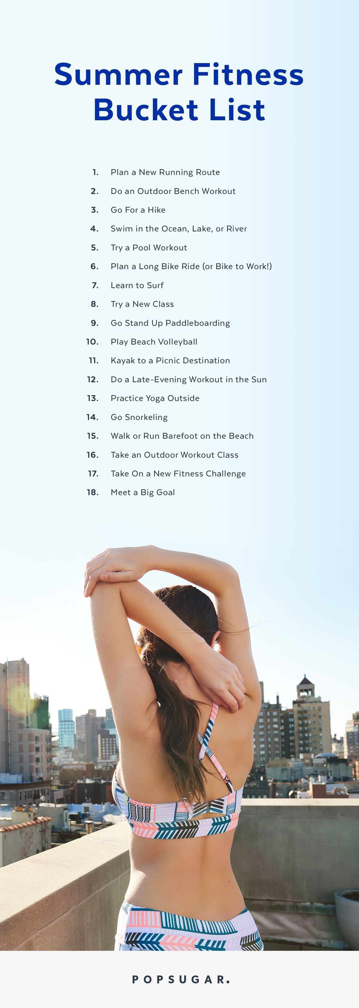 Get Healthy And Have Fun Check Off Everything From This Fit Summer Bucket List Fitness Goals List Fun Workouts Fitness Goals