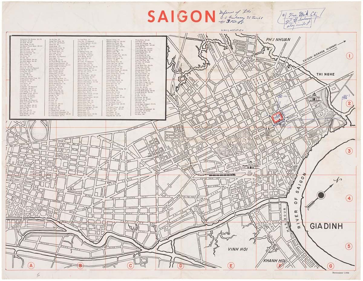 Map of Saigon Defense of the U.S. Emby, 01/03/1968-02/03 ... Saigon Map on java sea map, jakarta map, cambodia map, quang nam province map, gulf of tonkin map, red river map, da nang map, ho chi minh city map, vientiane map, vietnam map, seoul map, bangkok map, bien hoa map, hanoi map, rangoon map, hue map, shanghai map, manila map, dien bien phu map, guam map,