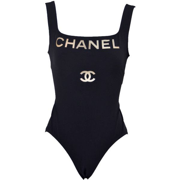 a9412b70ef9ef Chanel Black Clear Logo One Piece Bathing Suit 01P Size 38 NEW ...