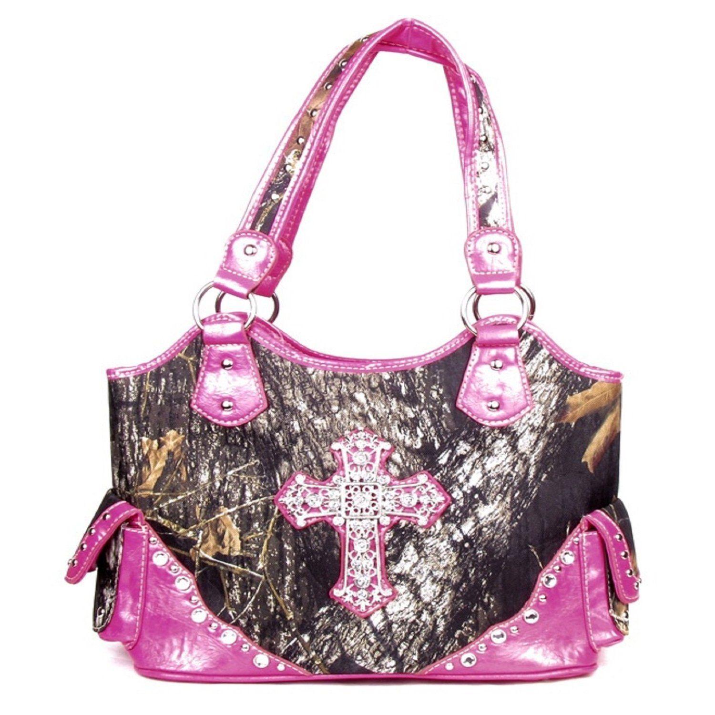 Handbags Bling More Western Large Canvas Pink Camouflage Cross Rhinestone Purse